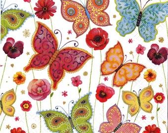 """6 Decoupage Butterflies Napkins 3x33 cm. 13""""x13"""" 6pcs"""