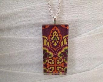 necklace, glass tile