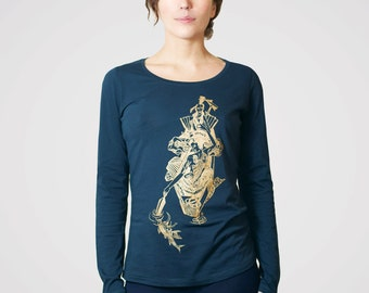 Japanese Lovers in a Boat [Women's Organic Cotton Long Sleeve Top] - screen printed