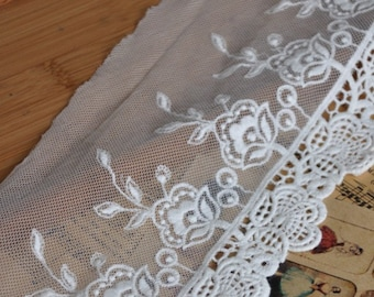 Lace trim, White Lace, Rose Embroidered Lace Trim  5.5 inches wide. E0400