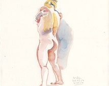 Female Nude N.6 Original watercolor nude drawing, life art. Portrait of short poses of a woman by Catalina.