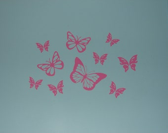 Butterfly vinyl wall decal sticker girls room accents choice of color
