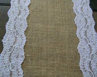Burlap and Lace Table Runner -Shabby chic-rustic weddings-home decor-anniversary-birthdays-baby shower-bridal shower