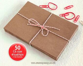 "Kraft Envelopes, 50pk, C6 Brown Ribbed Envelopes, 4 1/2 x6 3/8"" Envelopes, Kraft Paper Envelopes C6 - PSS017"
