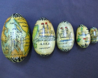 Vintage Set of Russian Wooden Nesting Eggs