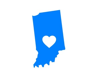 I Love Indiana Custom Die Cut Vinyl Decal Sticker - Choose your Color and Size
