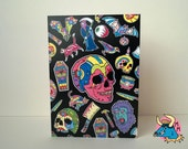 Skull Fright 5x7 Greetings Card by Manic Minotaur. Birthday card, good luck wishes, or any happy occasion.