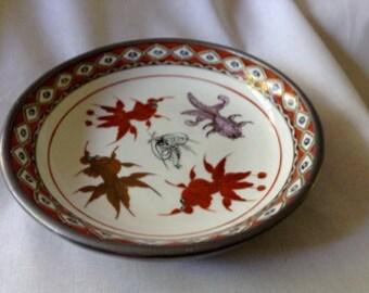 Vintage Japanese Pewter Porcelain Plate