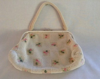 Vintage White and Pink Beaded Purse
