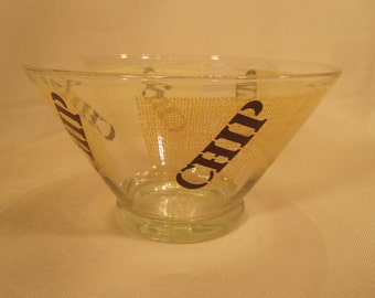 Vintage 80's Glass Chip Bowl