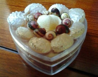 A heart shaped container with shells on the top .