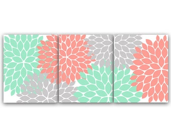 Home Decor Wall Art, Coral And Mint Flower Burst Art CANVAS Or PRINTS,  Bathroom