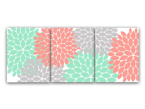home decor wall art coral and mint flower burst art canvas or