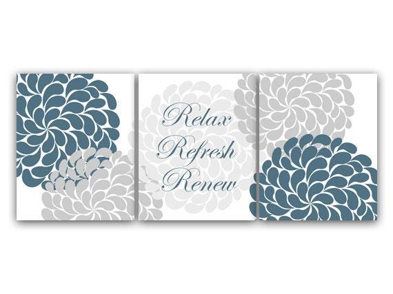 Bathroom wall art relax refresh renew canvas or prints teal for Relax bathroom wall decor