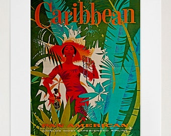 Items similar to jamaica vintage caribbean travel poster for Home decor jamaica