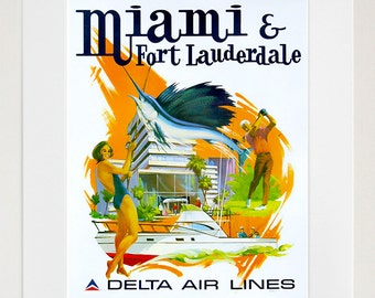 Florida Art Wall Decor Miami Fort Lauderdale Retro Travel Poster  (ZT677)