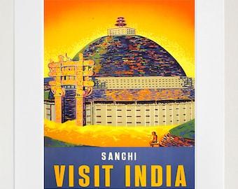 Vintage Travel Poster India Wall Art Print (ZT605)