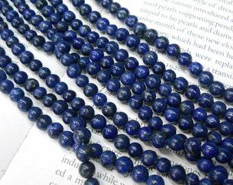 8mm Lapis Lazuli round beads, 15.5 inch