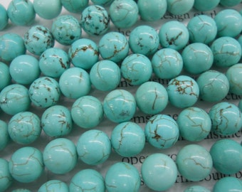 "8mm turquoise round beads 15.5"" long"