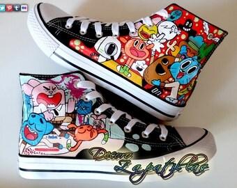 The amazing world of Gumball custom canvas shoes handmade
