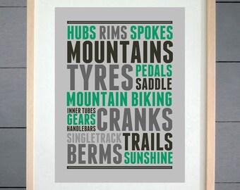 EllieBeanPrints Mountain Bike Thoughts  Print - Various Sizes