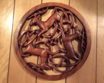 Celtic triple deer...Celtic wood carving
