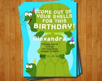 Turtle Party Invitation - printable birthday invite for a Turtle Birthday Party