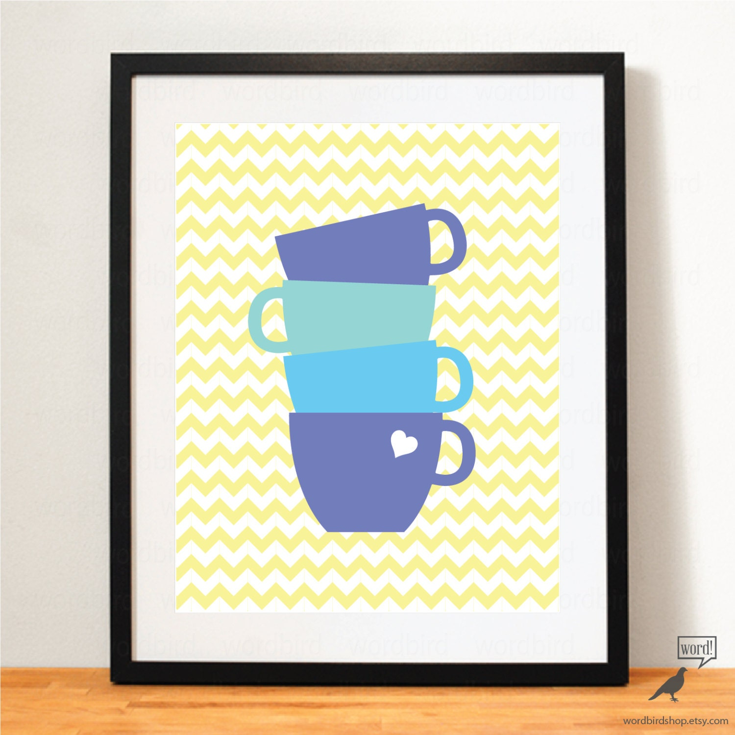 Blue & Yellow Kitchen Wall Art Coffee Poster Teal By