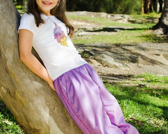Girls handmade harem pants in purple