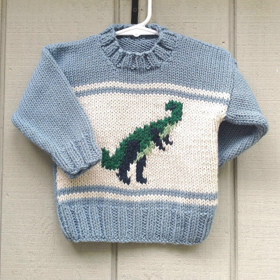 Toddler knitted dinosaur sweater 1 to 2 years Childs