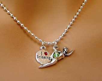 """Personalized Necklace with Birthstone, """"I Love Swimming"""" Message and Swimming Girl for Swimming team, Girl, Mother, Birthday Necklace Gift"""