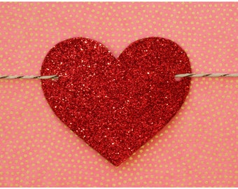 Red glitter heart garland strung on metallic bronze & natural colored hemp twine READY TO SHIP