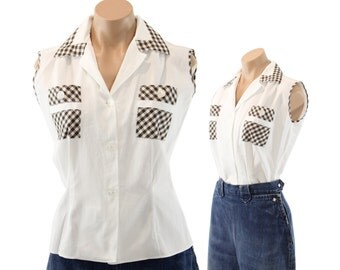 Vintage 50s Sleeveless Blouse NOS White Brown Gingham Checked Collared Top Shirt Womens Spring Summer Fashion 1950s Medium M