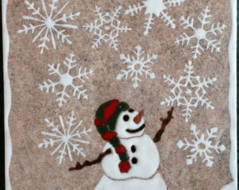 Snowman and snowflakes handglazed tile