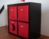 Red felt boxes fit into Ikea Expedit and Kallax, Felt storage basket for a shelves, Custom-made felt storage boxes