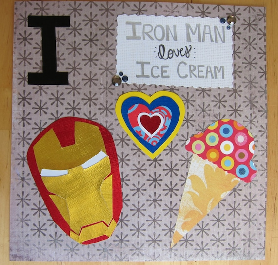 Items similar to I is for Iron Man, who loves Ice Cream ...