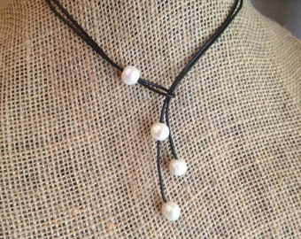 Black Leather and  Freshwater Pearl Triple Drop Classic Lariat Necklace