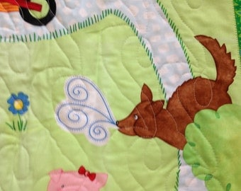 Three Little Pigs Quilted Baby Panel