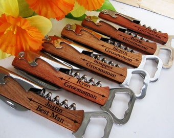 Wedding Party Gift - Wedding Party Favor - Wine Bottle Opener - Free Engraving