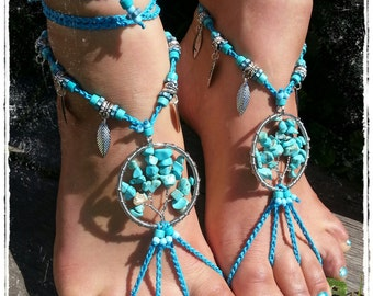 Tree of Life Barefoot Sandals. Turquoise. Barefoot wedding. Belly dance. Festival feet.