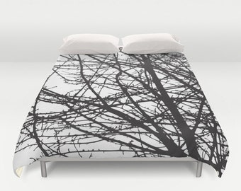 Black and White Tree Branches Modern Duvet Cover - Queen Size Duvet Cover - King Size Duvet Cover