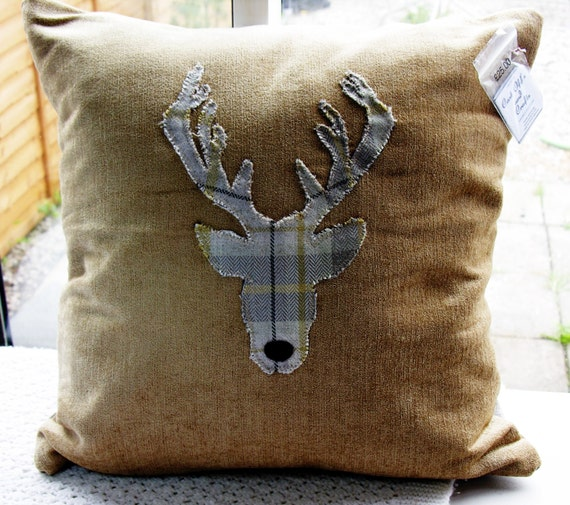 Sale Scottish Stag Cushion Tartan Back By Castoffsandcrafts