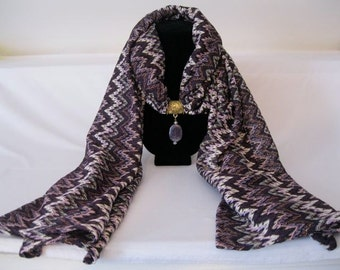 Purple, white pink multicolor scarf, with gold scarf tube and dangling Amethyst gem stone.