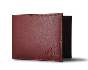 Oxford Scholar - Slim Bi-Fold Mens Wallet  : Red