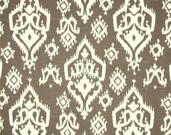 Brown & White Ikat Home Decor Fabric by the Yard, Designer Drapery or Upholstery Yardage, Cotton Pillow or Craft Fabric, Ikat Fabric G104