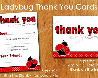 Ladybug Thank You Cards- Instant Download