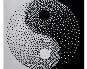 Yin Yang - Original Modern Painting on Canvas, Acrylic, Abstract Yin Yang Decor, Yin Yang Art, Black and White Yin Yang, Yin Yang Silhouette