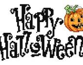 "Cross Stitch Pattern- ""Happy Halloween""- Instant Download"