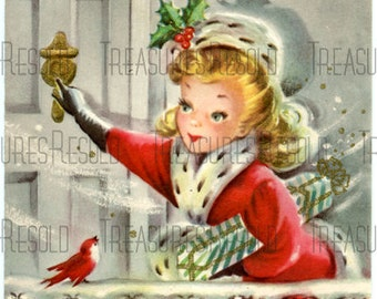 Girl Delivering Presents Christmas Card #208 Digital Download