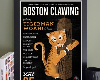 "Boston Clawing Gig Poster // Ned Devine's Pub, Boston, MA 13""x19"""